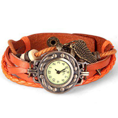Watch with Wing Pendant Round Dial Leather Band for WomenWomens Watches<br>Watch with Wing Pendant Round Dial Leather Band for Women<br><br>Band material: Leather<br>Case material: Stainless Steel<br>Clasp type: Buckle<br>Display type: Analog<br>Movement type: Quartz watch<br>Package Contents: 1 x Watch<br>Package size (L x W x H): 21.70 x 2.40 x 0.60 cm / 8.54 x 0.94 x 0.24 inches<br>Package weight: 0.0750 kg<br>Product size (L x W x H): 21.80 x 2.40 x 0.70 cm / 8.58 x 0.94 x 0.28 inches<br>Shape of the dial: Round<br>The dial diameter: 1.6 cm/0.6 inch<br>The dial thickness: 0.7 cm/0.3 inch<br>Watches categories: Female table