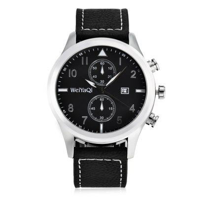 WeiYaQi 89018 Casual Men Quartz WatchMens Watches<br>WeiYaQi 89018 Casual Men Quartz Watch<br><br>Band material: Leather<br>Band size: 26.4 x 2.2 cm / 10.39 x 0.87 inches , 26.4 x 2.2 cm / 10.39 x 0.87 inches<br>Brand: Weiyaqi<br>Case material: Stainless Steel<br>Clasp type: Pin buckle<br>Dial size: 4.4 x 4.4 x 1.3 cm / 1.73 x 1.73 x 0.51 inches<br>Display type: Analog<br>Movement type: Quartz watch<br>Package Contents: 1 x WeiYaQi 89018 Casual Men Quartz Watch, 1 x Box , 1 x WeiYaQi 89018 Casual Men Quartz Watch, 1 x Box<br>Package size (L x W x H): 9.00 x 9.00 x 6.00 cm / 3.54 x 3.54 x 2.36 inches, 9.00 x 9.00 x 6.00 cm / 3.54 x 3.54 x 2.36 inches<br>Package weight: 0.155 kg, 0.155 kg<br>Product size (L x W x H): 26.40 x 4.40 x 1.30 cm / 10.39 x 1.73 x 0.51 inches, 26.40 x 4.40 x 1.30 cm / 10.39 x 1.73 x 0.51 inches<br>Product weight: 0.062 kg, 0.062 kg<br>Shape of the dial: Round<br>Special features: Decorative sub-dial, Date<br>Watch color: Brown + White, Black + White, Brown + Gray, Black, Black + Brown<br>Watch style: Casual<br>Watches categories: Male table<br>Water resistance: Life water resistant<br>Wearable length: 19.2 - 23.6 cm / 7.56 - 9.29 inches , 19.2 - 23.6 cm / 7.56 - 9.29 inches