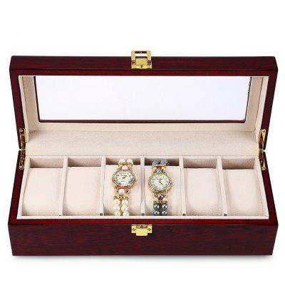 6 Slots Wood Watch Display Case