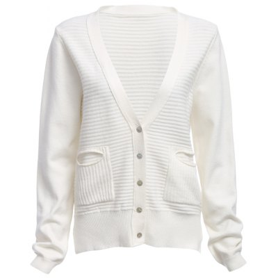 Bouton Front Handy Pockets Long Sleeve Cardigan
