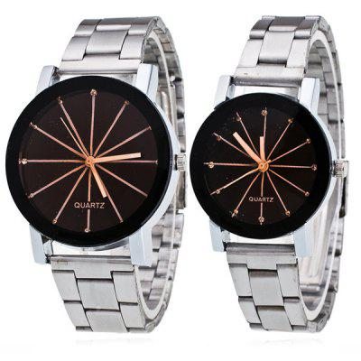 Pair of Rhinestone Geometric Ray Couple Watches