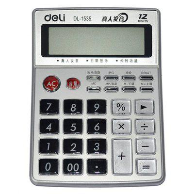 Deli 1535 12-digit Talking Calculator