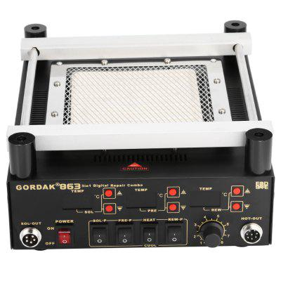GORDAK 863 Powerful 3 in 1 Digital Repair ComboSoldering Supplies<br>GORDAK 863 Powerful 3 in 1 Digital Repair Combo<br><br>Brand: GORDAK<br>Material: Plastic + Steel<br>Model: 863<br>Package Contents: 1 x Heating Unit, 1 x Air Gun Handle ( 1m Line ), 1 x Power Line ( 1.2m ), 1 x Iron Handle ( 1m Line ), 3 x Nozzle, 1 x Iron Stand ( with Fix Parts ), 1 x Chinese Manual<br>Package size (L x W x H): 40.00 x 30.00 x 17.00 cm / 15.75 x 11.81 x 6.69 inches<br>Package weight: 4.6800 kg<br>Product size (L x W x H): 26.00 x 23.00 x 12.00 cm / 10.24 x 9.06 x 4.72 inches<br>Product weight: 3.6300 kg<br>Special function: 3 in 1 Digital Repair Combo