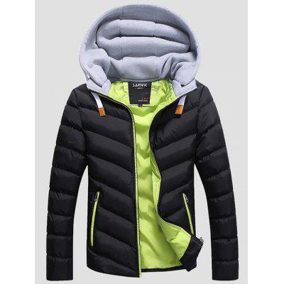 SANVIK Zipper Contrast Detachable Hood Quilted Down Jacket
