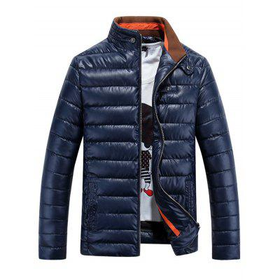 PU Stand-up Collar Zipper Front Quilted Jacket