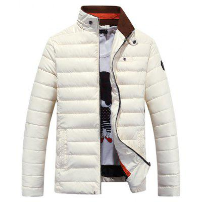 PU Stand-up Collar Winter Jacket