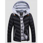 SANVIK Zipper Contrast Detachable Hood Quilted Down Jacket for sale