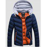 best SANVIK Zipper Contrast Detachable Hood Quilted Down Jacket