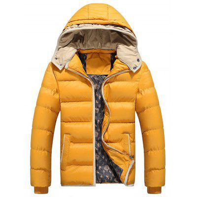 Men Hooded Quilted Down Jacket