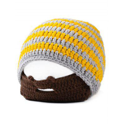 Creative Striped Beard Warm Winter Knitted Hat