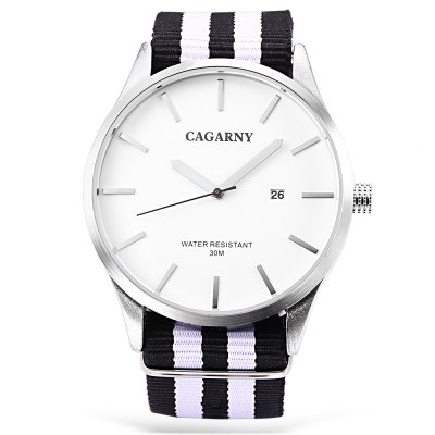 CAGARNY 6865 Quartz Watch for Men WomenUnisex Watches<br>CAGARNY 6865 Quartz Watch for Men Women<br><br>Band material: Nylon<br>Band size: 25 x 2.2 cm / 9.84 x 0.87 inches<br>Brand: Cagaray<br>Case material: Alloy<br>Clasp type: Pin buckle<br>Dial size: 4.5 x 4.5 x 0.8 cm / 1.77 x 1.77 x 0.31 inches<br>Display type: Analog<br>Movement type: Quartz watch<br>Package Contents: 1 x CAGARNY 6865 Unisex Quartz Watch, 1 x Box<br>Package size (L x W x H): 7.60 x 10.20 x 7.50 cm / 2.99 x 4.02 x 2.95 inches<br>Package weight: 0.152 kg<br>People: Female table,Male table<br>Product size (L x W x H): 25.00 x 4.50 x 0.80 cm / 9.84 x 1.77 x 0.31 inches<br>Product weight: 0.055 kg<br>Shape of the dial: Round<br>Special features: Date<br>Watch style: Fashion<br>Water resistance: 30 meters<br>Wearable length: 16.5 - 22.5 cm / 6.5 - 8.86 inches