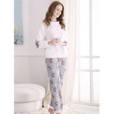 Lovers Cute Fawn Pattern Flannel Pullover Pyjama Suit