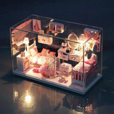 Mini House Style Art DIY Handicraft Toy with LED Light