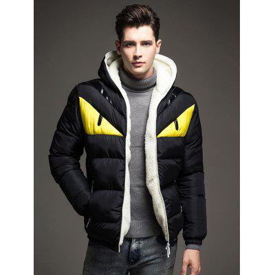 Color Block Angry Eye Hooded Winter Jacket