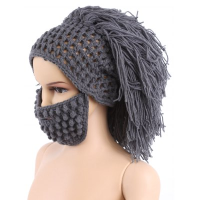 Dad Child Christmas Halloween Beard Hair Woolen Knitted Hat