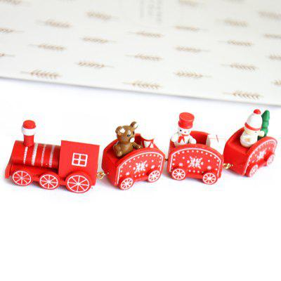 Cartoon Christmas Wood Train Table Decoration Three