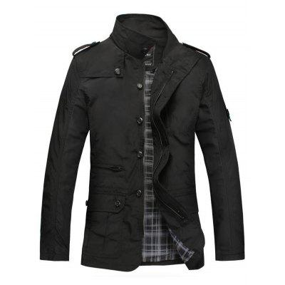 Patched Water-resistant Slim Fit Windbreaker Jacket