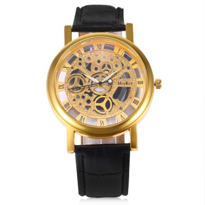 Quartz Hollow-out Watch for MenMens Watches<br>Quartz Hollow-out Watch for Men<br><br>Band material: Leather<br>Band size: 25 x 1.9cm / 9.84 x 0.75 inches<br>Case material: Alloy<br>Clasp type: Pin buckle<br>Dial size: 3.8 x 3.8 x 1cm / 1.5 x 1.5 x 0.39 inches<br>Display type: Analog<br>Movement type: Quartz watch<br>Package Contents: 1 x Quartz Watch with Hollow-out Design for Men<br>Package size (L x W x H): 26.00 x 4.80 x 2.00 cm / 10.24 x 1.89 x 0.79 inches<br>Package weight: 0.0600 kg<br>Product size (L x W x H): 25.00 x 3.80 x 1.00 cm / 9.84 x 1.5 x 0.39 inches<br>Product weight: 0.0400 kg<br>Shape of the dial: Round<br>Watch color: black, black+gold, coffee<br>Watch style: Hollow-out<br>Watches categories: Male table<br>Wearable length: 23 - 20.5 / 9.06 x 8.07 inches