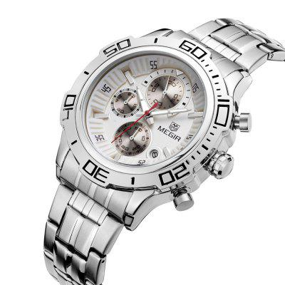 MEGIR 2019 Fashion Calendar Window Men Quartz Watch