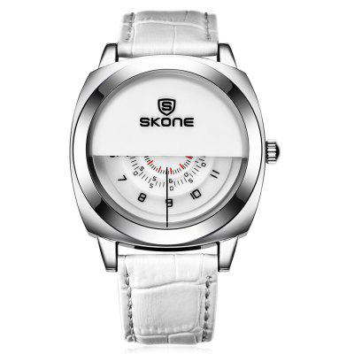 SKONE 1204 Fashion Half Dial Design Men Quartz WatchMens Watches<br>SKONE 1204 Fashion Half Dial Design Men Quartz Watch<br><br>Available Color: Black,Brown,White<br>Band material: Leather<br>Band size: 25.5 x 2 cm / 10.04 x 0.79 inches<br>Brand: Skone<br>Case material: Stainless Steel<br>Clasp type: Pin buckle<br>Dial size: 4.26 x 4.26 x 1.2 cm / 1.68 x 1.68 x 0.47 inches<br>Display type: Analog<br>Movement type: Quartz watch<br>Package Contents: 1 x SKONE 1204 Fashion Men Quartz Watch<br>Package size (L x W x H): 28.00 x 8.00 x 3.50 cm / 11.02 x 3.15 x 1.38 inches<br>Package weight: 0.118 kg<br>Product size (L x W x H): 25.50 x 4.26 x 1.20 cm / 10.04 x 1.68 x 0.47 inches<br>Product weight: 0.058 kg<br>Shape of the dial: Round<br>Watch style: Fashion<br>Watches categories: Male table<br>Water resistance: Life water resistant