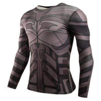 Buy GRAY 2XL 3D Print Classic Cartoon Figure Tight Fit Long Sleeves T Shirt for $14.79 in GearBest store