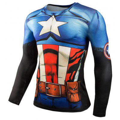 3D Print Classic Cartoon Figure Long Sleeves Tight Fit T-shirt