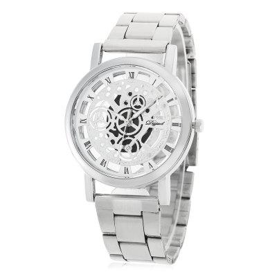 Geneva Fashion Hollow-out Dial Steel Strap Men Quartz Watch