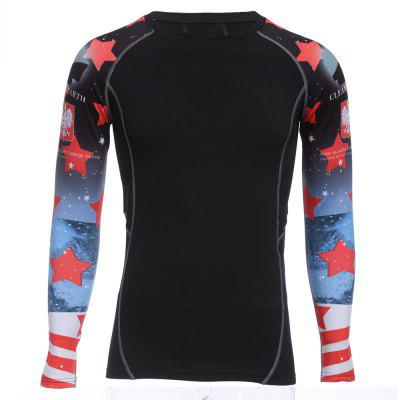 Red Star Print Long Sleeves Compress Tight T-shirt with Velvet