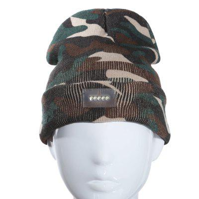 Warm Knit Fishing Hat with Five Bright LEDs