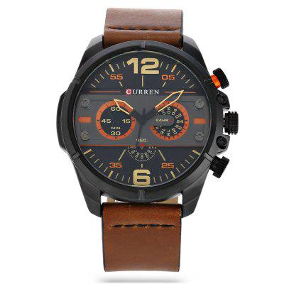 CURREN 8259 Fashion Decorative Sub-dial Men Quartz WatchMens Watches<br>CURREN 8259 Fashion Decorative Sub-dial Men Quartz Watch<br><br>Band material: Leather<br>Band size: 26.7 x 2.3 cm / 10.51 x 0.91 inches<br>Brand: Curren<br>Case material: Stainless Steel<br>Clasp type: Pin buckle<br>Dial size: 4.7 x 4.7 x 1.4 cm / 1.85 x 1.85 x 0.55 inches<br>Display type: Analog<br>Movement type: Quartz watch<br>Package Contents: 1 x CURREN 8259 Fashion Men Quartz Watch, 1 x Box<br>Package size (L x W x H): 11.30 x 8.30 x 7.00 cm / 4.45 x 3.27 x 2.76 inches<br>Package weight: 0.214 kg<br>Product size (L x W x H): 26.70 x 4.70 x 1.40 cm / 10.51 x 1.85 x 0.55 inches<br>Product weight: 0.084 kg<br>Shape of the dial: Round<br>Special features: Decorative sub-dial<br>Watch color: Gray + Red, Orange + Gray, Black + Gray, White + Orange, Red + White, White + Black<br>Watch style: Fashion<br>Watches categories: Male table<br>Water resistance: Life water resistant<br>Wearable length: 19.3 - 24.2 cm / 7.60 - 9.53 inches