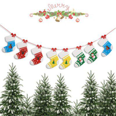 Christmas Cute Cartoon Sock Wave Flag Banner