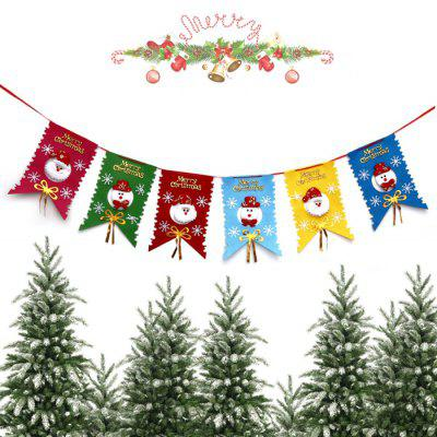 Christmas Cute Cartoon Non-woven Wave Flag Banner