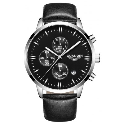 Buy SILVER AND BLACK GUANQIN GQ12006 Fashion Men Quartz Watch for $30.50 in GearBest store