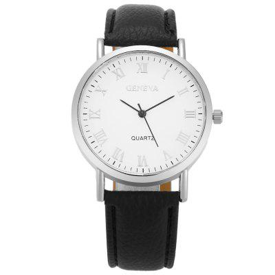 GENEVA Fashion Grid Pattern Dial Unisex Quartz WatchUnisex Watches<br>GENEVA Fashion Grid Pattern Dial Unisex Quartz Watch<br><br>Band material: PU Leather<br>Band size: 23.8 x 2 cm / 9.37 x 0.79 inches<br>Brand: Geneva<br>Case material: Alloy<br>Clasp type: Pin buckle<br>Dial size: 4 x 4 x 0.8 cm / 1.57 x 1.57 x 0.31 inches<br>Display type: Analog<br>Movement type: Quartz watch<br>Package Contents: 1 x GENEVA Fashion Unisex Quartz Watch<br>Package size (L x W x H): 24.80 x 5.00 x 1.80 cm / 9.76 x 1.97 x 0.71 inches<br>Package weight: 0.068 kg<br>People: Female table,Male table<br>Product size (L x W x H): 23.80 x 4.00 x 0.80 cm / 9.37 x 1.57 x 0.31 inches<br>Product weight: 0.028 kg<br>Shape of the dial: Round<br>Watch color: Purple, Pink, Black, Brown, White, White + Black<br>Watch style: Fashion<br>Wearable length: 17.2 - 21.4 cm / 6.77 - 8.43 inches