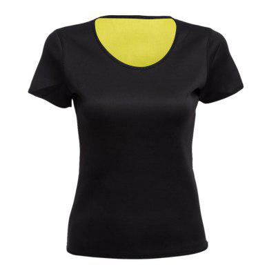 Women Neoprene Elastic Calorific Gym Short Sleeves T-shirt