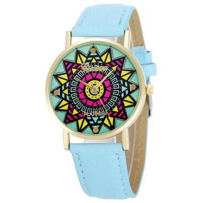 Geneva Fashion Colorful Flower Pattern Dial Lady Quartz Watch