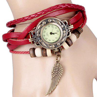 Watch with Wing Pendant Round Dial Leather Band for Women