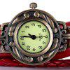 Watch with Wing Pendant Round Dial Leather Band for Women - RED