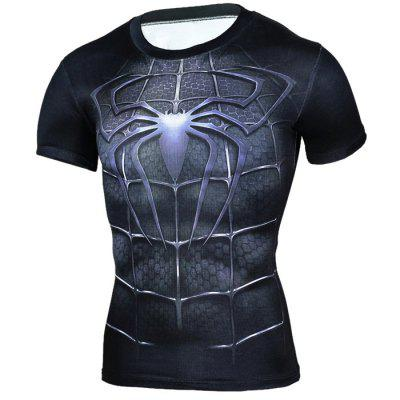 3D Cartoon Print Short Sleeves Tight T-shirt