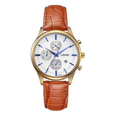 LONGBO 1218 Fashion Men Quartz WatchMens Watches<br>LONGBO 1218 Fashion Men Quartz Watch<br><br>Band material: PU Leather<br>Band size: 24 x 2 cm / 9.45 x 0.79 inches<br>Brand: Longbo<br>Case material: Alloy<br>Clasp type: Pin buckle<br>Dial size: 4 x 4 x 1 cm / 1.57 x 1.57 x 0.39 inches<br>Display type: Analog<br>Movement type: Quartz watch<br>Package Contents: 1 x LONGBO 1218 Fashion Men Quartz Watch, 1 x Box<br>Package size (L x W x H): 8.00 x 5.00 x 5.30 cm / 3.15 x 1.97 x 2.09 inches<br>Package weight: 0.101 kg<br>Product size (L x W x H): 24.00 x 4.00 x 1.00 cm / 9.45 x 1.57 x 0.39 inches<br>Product weight: 0.041 kg<br>Shape of the dial: Round<br>Watch color: Silver, Gold, White + Gold, Black + Silver, Black + Gold<br>Watch mirror: Mineral glass<br>Watch style: Fashion<br>Watches categories: Male table