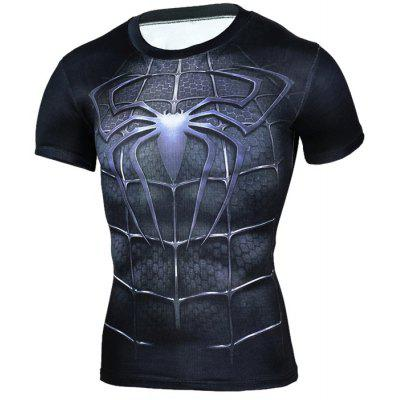 3D Cartoon Print Short Sleeves Tight Fitness T-shirt