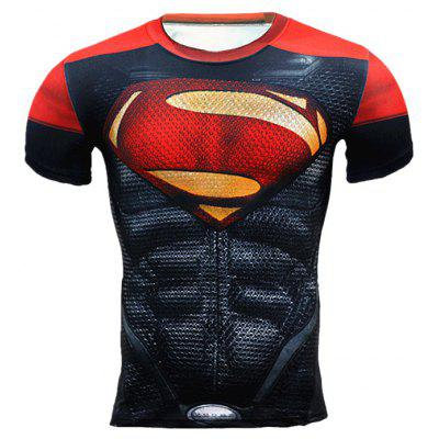 Breathable 3D Cartoon Print Kurzarm Tight Fitness T-Shirt