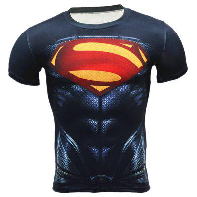Breathable 3D Cartoon Print Short Sleeves Tight Fitness T-shirt