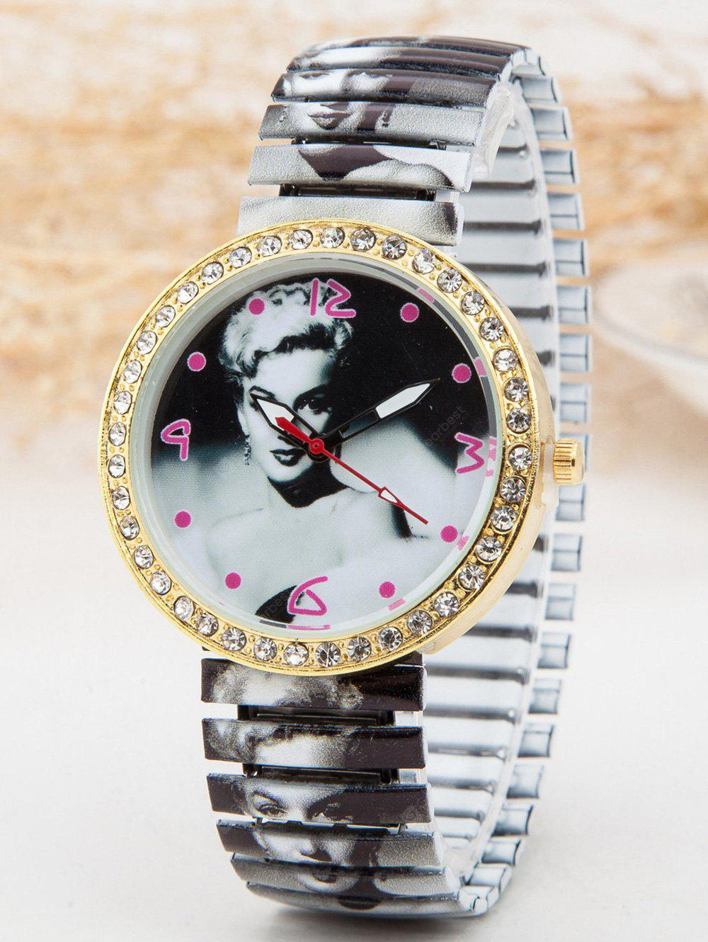 Strass Marilyn Monroe Printed-Quarz-Uhr