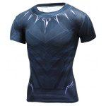 Breathable 3D Print Short Sleeves Tight Fitness T-shirt - BLUE