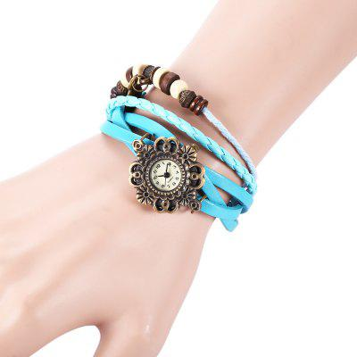Retro Style Lady Quartz Watch Woven Bracelet