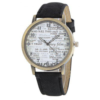 Retro Old Newspaper Pattern Dial Unisex Quartz Watch, Gray;black;brown;army green