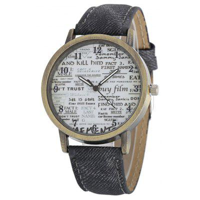 Retro Old Newspaper Pattern Dial Unisex Quartz Watch