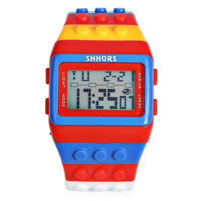 SHHORS SH - 715 LED WatchLED Watches<br>SHHORS SH - 715 LED Watch<br><br>Band material: Silicone<br>Band size: 20 x 3 cm / 7.87 x 1.18 inches<br>Brand: Shhors<br>Case material: ABS<br>Clasp type: Hidden clasp<br>Dial size: 4.5 x 2.9 x 0.5 cm / 1.77 x 1.14 x 0.20 inches<br>Display type: Digital<br>Movement type: Digital watch<br>Package Contents: 1 x SHHORS SH - 715 LED Watch<br>Package size (L x W x H): 21.00 x 5.50 x 1.50 cm / 8.27 x 2.17 x 0.59 inches<br>Package weight: 0.120 kg<br>People: Children table,Female table,Male table<br>Product size (L x W x H): 20.00 x 4.50 x 0.50 cm / 7.87 x 1.77 x 0.2 inches<br>Product weight: 0.071 kg<br>Shape of the dial: Rectangle<br>Special features: Stopwatch, EL Back-light, Alarm Clock<br>Watch color: Blue + Red, Red + Black, Black + Orange, Black + Pink<br>Watch style: Outdoor Sports<br>Water resistance: 30 meters