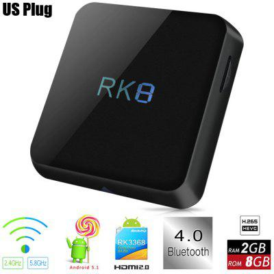 Buy BLACK RK8 TV Box Android 5.1 RK3368 Octa-core for $56.62 in GearBest store